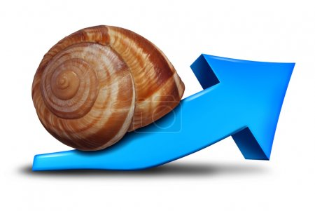 Photo for Slow business growth financial symbol as a blue three dimensional arrow pointing up shaped as a snail for the concept of sluggish profit gains or the economy slowly recovering. - Royalty Free Image