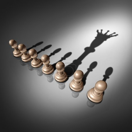 Photo for Leadership search and business recruitment concept as a group of pawn chess pieces and one individual standing out with a king crown cast shadow as a metaphor for the chosen one. - Royalty Free Image