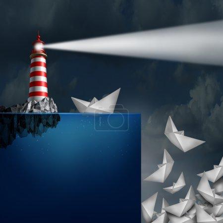 Photo pour Mauvais conseil concept de phare muni d'une balise lumineuse guidant faussement les navires de papier hors d'une falaise comme métaphore d'une consultation financière incompétente ou frauduleuse . - image libre de droit
