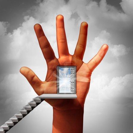 Photo pour L'égalité des chances et l'égalité professionnelle concept d'entreprise comme une porte ouverte sur une main humaine avec des doigts représentant diverses personnes multiculturelles comme une métaphore pour lutter contre la discrimination sur le lieu de travail. - image libre de droit