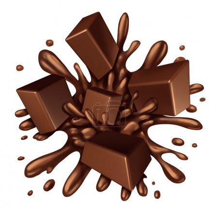 Photo for Chocolate splash liquid with chunks of melting candy exploding with a blast of dripping sweet brown syrup isolated on a white background as a food ingredient element symbol. - Royalty Free Image