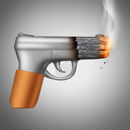 Photo for Smoking Cigarette concept as a tobacco product shaped as a lethal handgun or pistol as a health care metaphor and unhealthy symbol for the danger of smoke carcinogens. - Royalty Free Image