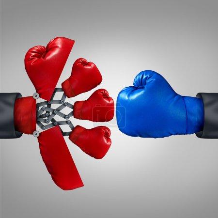 Photo pour Avantage de stratégie et concept de compétitivité d'affaires comme un gant rouge de boxe s'ouvrant à une arme secrète pour révéler plusieurs membres de l'équipe pour rivaliser avec un autre rival. - image libre de droit