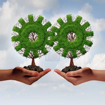 Photo pour Concept de stratégie d'entreprise d'équipe comme deux mains tenant des arbres connectés en forme d'engrenage ou d'engrenage comme un partenariat financier croissant unis pour la croissance de l'entreprise et le travail d'équipe . - image libre de droit