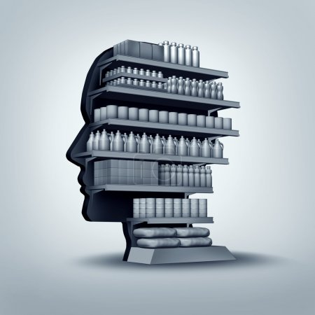 Photo for Consumer and customer concept as a store shelving unit shaped as a human head with generic products for sale as an economic and business symbol for personalized marketing and branding thinking or shopper education. - Royalty Free Image