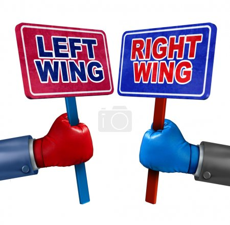Photo pour Concept de politique de gauche et de droite que deux candidats représentant les valeurs conservatrices et libérales comme débat démocrate et républicain à l'aide de signes et gants de boxe. - image libre de droit