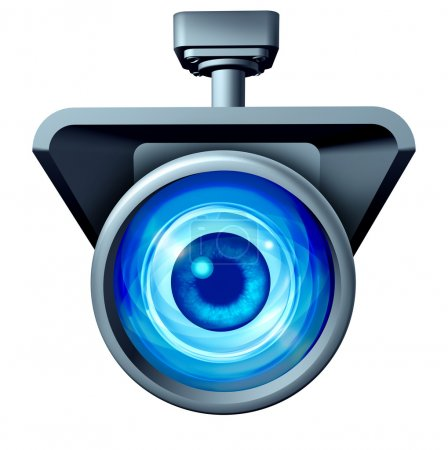 Photo for Video surveillance and big brother is watching concept as a security camera monitoring the public with a large eye spying as a symbol for privacy rights issues isolated on a white background. - Royalty Free Image