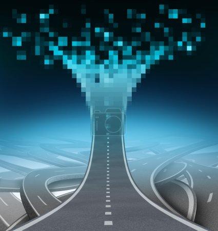 Photo pour Concept de communication d'autoroute et de technologie numérique comme route ou rue allant vers le haut et étant numérisé aux données d'ordinateur qui peuvent être téléchargées à et de l'Internet en tant que symbole de support de it. - image libre de droit