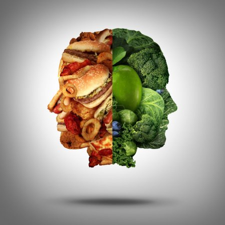 Photo for Food concept and diet decision symbol or nutrition choice dilemma between healthy good fresh fruit and vegetables or greasy cholesterol rich fast food as a human head with two conflicting sides trying to decide what to eat. - Royalty Free Image
