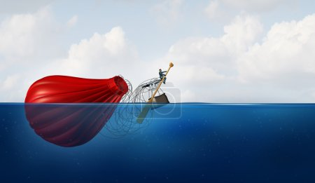 Photo pour Gestionnaire de problème en tant qu'homme d'affaires dans l'eau avec une montgolfière coulée pagayant le véhicule échoué vers une nouvelle destination comme métaphore d'affaires pour la récupération et pour persévérer en faisant face à une crise. - image libre de droit