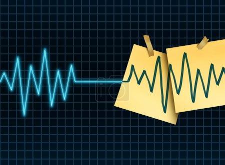 Photo pour Concept de prolongation de la vie en tant que médicament et symbole de la science médicale pour ralentir ou inverser le processus de vieillissement en tant que ligne plane de mort par kg ou ecg avec des notes de bureau enregistrées prolongeant la durée de vie d'un patient ou d'un don d'organe et transp - image libre de droit
