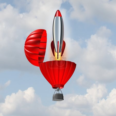 Photo pour Concept d'ambition et symbole de dynamisme de la réussite commerciale comme une montgolfière s'ouvrant avec un décollage de fusée émergente pour une stratégie accélérée visant à atteindre un objectif . - image libre de droit