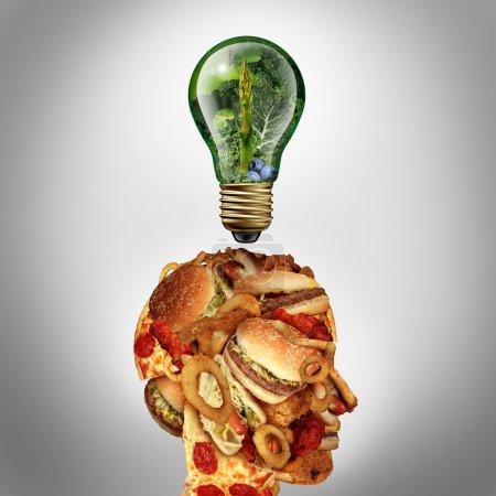 Photo pour Diète de Motivation et les régimes amaigrissants concept d'inspiration comme une tête humaine faite de la malbouffe grasse avec une icône d'idée ampoule faite de fruits verts et de légumes comme une métaphore de la nutrition et les soins de santé. - image libre de droit