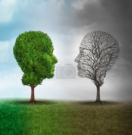 Photo for Human mood and emotion disorder concept as a tree shaped as two human faces with one half full of leaves and the opposite side empty branches as a medical metaphor for psychological contrast in feelings. - Royalty Free Image