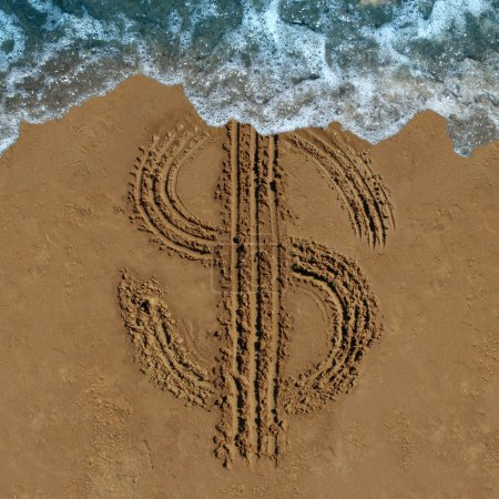 Photo for Financial loss business concept as a drawing of a money symbol drawn on a beach being washed out by an ocean wave as an economic icon for currency change or fading budget and laundering of finances. - Royalty Free Image