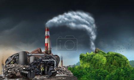 Photo pour Industrie pollution environnement concept comme une tête humaine en forme de centrale électrique sale libérant des déchets toxiques dans l'eau et des cheminées de fumée avec des panaches de fumée sale respirés par une montagne naturelle verte en forme de visage . - image libre de droit