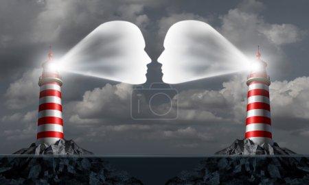 Photo pour Partenaire communication business concept que deux structures de phare en mer en forme de têtes humaines communiquer ensemble pour le succès commercial ou comme une icône histoire marital secrète de commerce outre-mer réunion. - image libre de droit