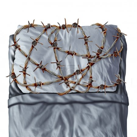 Photo for Sleep problem and sleeping disorder as sleep apnea or insomnia disease symptoms as a pillow on a bed wrapped with painful barb wire fence as a concept and metaphor for resting trouble caused by stress or anxiety. - Royalty Free Image
