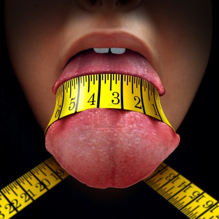 Photo for Calorie restriction concept as a tape measure wrapped tight around a human tongue as a fasting diet or dieting symbol for anorexia or dietary control. - Royalty Free Image