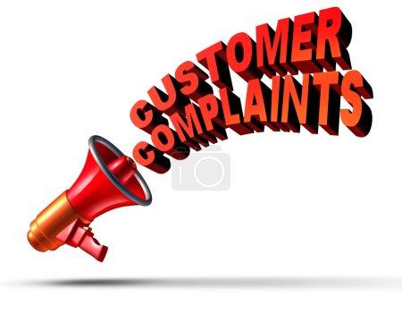 Photo pour Plaintes des clients symbole d'entreprise comme un mégaphone ou un bullhorn annonçant et communiquant une opinion de plainte d'insatisfaction pour les mauvais services à la clientèle ou un service de mauvaise qualité comme texte sur fond blanc . - image libre de droit