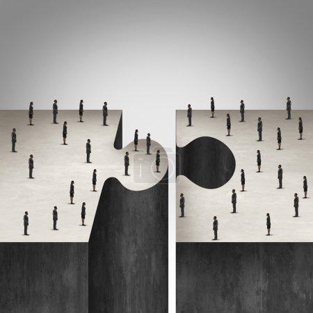 Photo pour Concept de collaboration des gens d'affaires comme casse-tête avec deux groupes de gens d'affaires se réunissant comme un symbole d'entreprise pour l'accord de groupe pour construire un projet . - image libre de droit