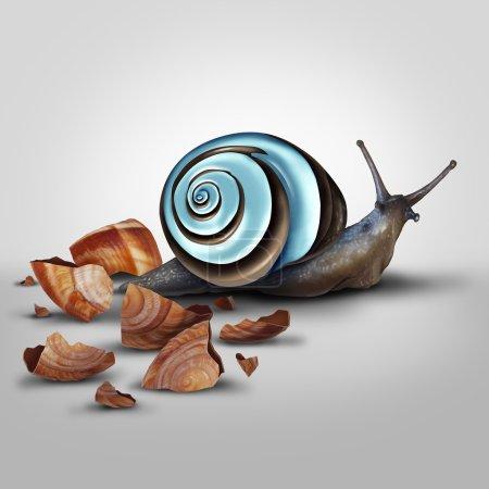 Photo pour Notion d'amélioration comme un escargot Shedding vieux shell pour une mise à niveau comme un moderne chrome un comme une métaphore pour les nouveaux et améliorés et d'adaptation ainsi avançant avec la nouvelle technologie. - image libre de droit