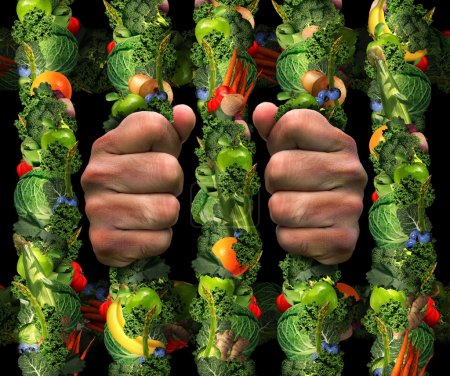 Photo for Healthy eating obsession  concept and addicted to health food symbol or or orthorexia nervosa as an extreme eating habit of consuming only certain foods as human hands holding prison bars from a jail cell made of fruits and vegetables. - Royalty Free Image