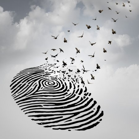Photo for Identity freedom concept as a fingerprint transforming into flying birds as a metaphor for a person losing a psychological identity or a symbol of death and renewal after a loss of a loved one. - Royalty Free Image