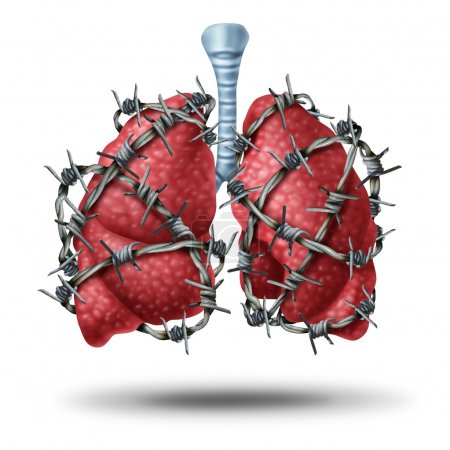 Lung pain medical concept as a pair of human lungs...