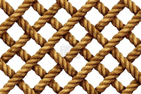 Photo pour Modèle de grille de corde comme un groupe de cordons nautiques épais et forts reliés en forme géométrique comme un filet marin isolé sur un fond blanc . - image libre de droit