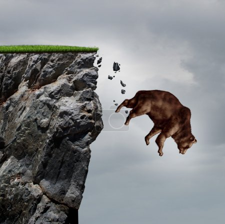 Photo for Falling bear market financial decline business and plummeting finance concept for losing investment and value taking a nose dive as a bear in a free fall  dive off a cliff as a bearish icon in a financial collapse and stock market crisis. - Royalty Free Image