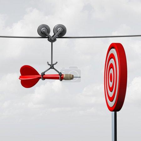 Photo pour Le succès frapper cible comme un concept d'aide aux entreprises avec l'aide d'un guide comme un symbole pour la gestion de la réalisation des objectifs et visent à frapper l'œil du taureau comme une fléchette assurée d'aller directement vers le centre . - image libre de droit