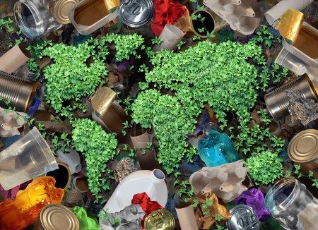 Photo pour Recycler les déchets mondiaux pour l'environnement et le concept de déchets ou recycler l'icône de gestion des déchets avec du vieux verre en papier métal et des produits ménagers en plastique à réutiliser en aidant à la conservation de la nature pour économiser de l'énergie et de l'argent . - image libre de droit