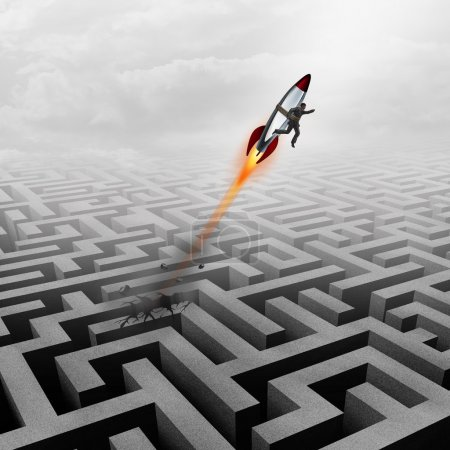 Photo for Business success concept and successful clever businessman motivation metaphor as a man breaking out of a maze with a rocket ship going upward towards a career goal getting past a metaphoric labyrinth puzzle obstacle. - Royalty Free Image