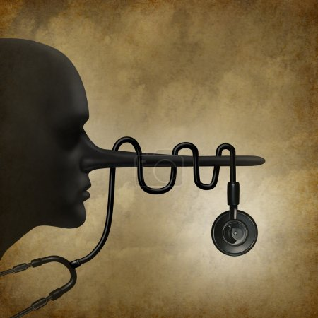 Medical lies concept and healthcare fraud concept as a dishonest doctor health care symbol with and a stethoscope wrapped around the long liar nose as a legal issue medicine metaphor.