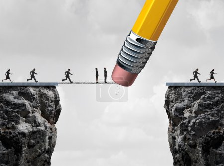 Photo for Missed opportunity concept and too late symbol as slow  and delayed businesspeople stuck on a bridge because an eraser erased the path with other quick employees continuing the race over the cliff as a business metaphor. - Royalty Free Image