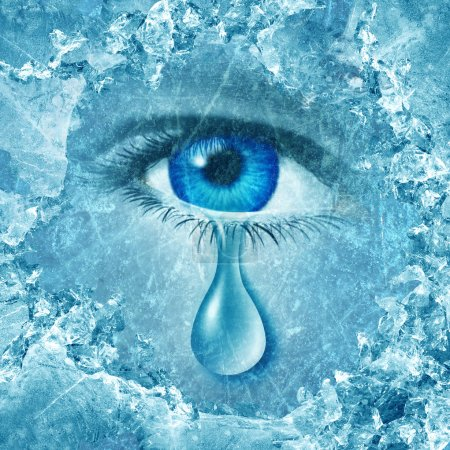 Photo for Winter blues seasonal affective disorder or depression and cold grey season lonesome anxiety and emotional crisis concept as a human eyeball crying a tear behind layers of ice as a metaphor for sadness. - Royalty Free Image