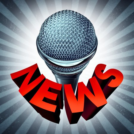 Photo for News microphone icon as a broadcasting and journalism symbol and a reporting of current affairs on the internet or radio and television media. - Royalty Free Image
