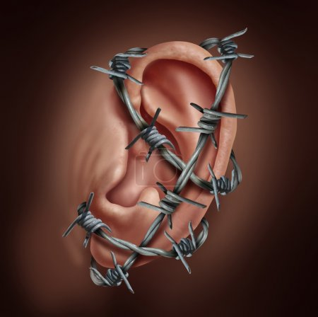 Photo for Human ear pain and earache infection symbol as barbed wire wrapped around the hearing body part causing a sharp burning disease as otitis or swimmmers ear ache. - Royalty Free Image