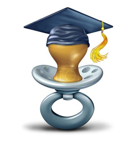 Photo pour L'éducation de bébé et future étudiante diplômée comme une sucette, porter une planche de cap ou de mortier graduation comme un petite enfance apprentissage services concept ou à la garderie sur fond blanc. - image libre de droit