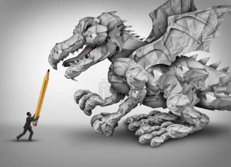 Photo for Paper stress business concept as a businessman holding a pencil fighting a dragon monster shaped with crumpled papers and office paperwork as a metaphor for management and bureaucracy problem. - Royalty Free Image