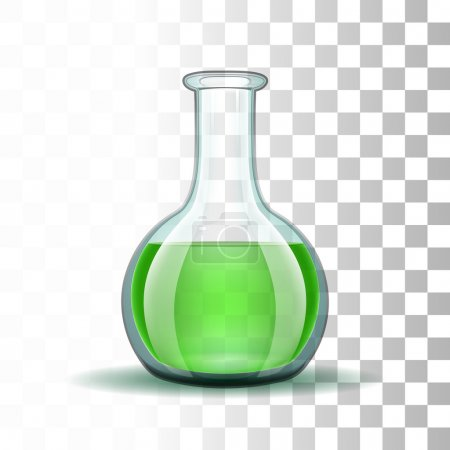 Illustration for Chemical laboratory transparent flask with green liquid.  Vector illustration - Royalty Free Image