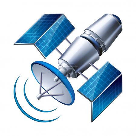 Satellite isolated on white background. vector ill...