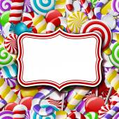 Frame labels on sweet background with different colorful candies Vector illustration