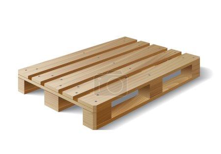Illustration pour Palette en bois. Isolé sur blanc. Illustration vectorielle - image libre de droit