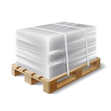 Illustration pour Image de film étirable en plastique enveloppé de fret sur une palette en bois. Symbole transport expédition. Illustration vectorielle - image libre de droit