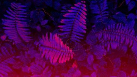 Tropical leaf forest glow in the black light backg...