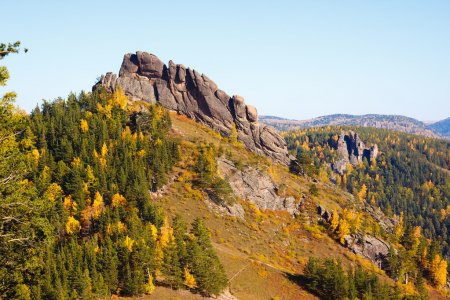 Photo for Autumn landscape of the mountain the reserve in Siberia - Royalty Free Image