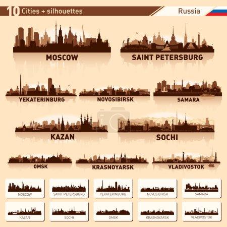 City skyline set. 10 cities of Russia