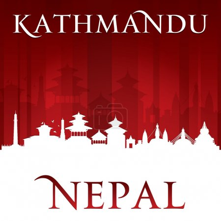 Kathmandu Nepal  city skyline silhouette red background